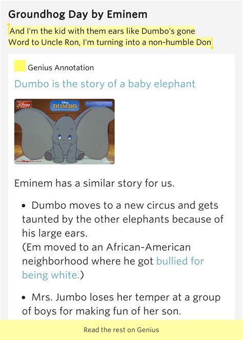 groundhog day eminem lyrics and i m the kid with them ears like dumbo s