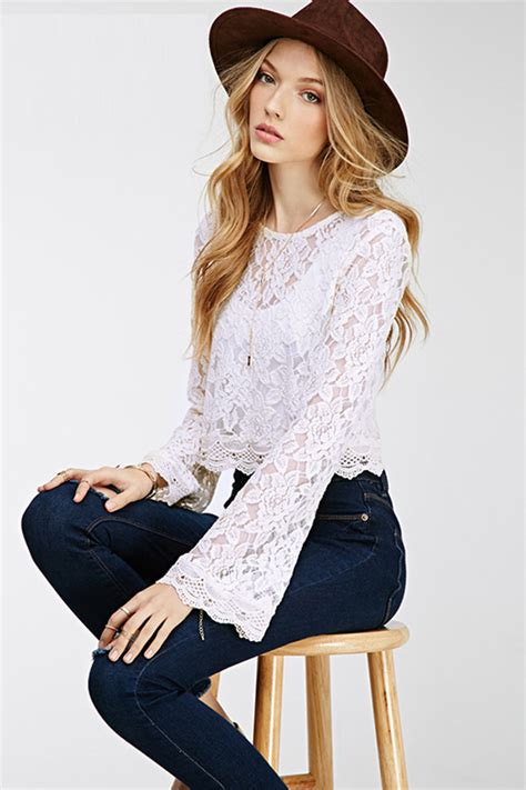 Cut Out Top Blouse Sabrina Casual white flare sleeve dressy lace crop top 022567