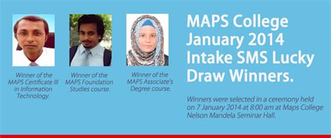Bedfordshire Mba Intakes by Winners Of The Maps College January 2014 Intake Sms Lucky