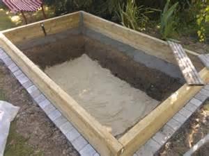 bassin 3000l semi enterr 233 partie hors sol bois