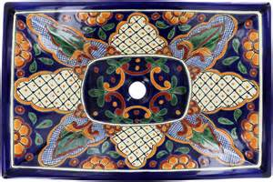talavera bathroom sinks mexican tile san miguel rectangular vessel above the