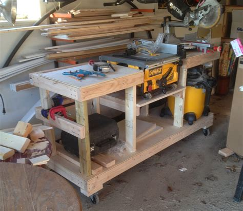 build miter saw bench diy table saw stand on casters the wolven house project