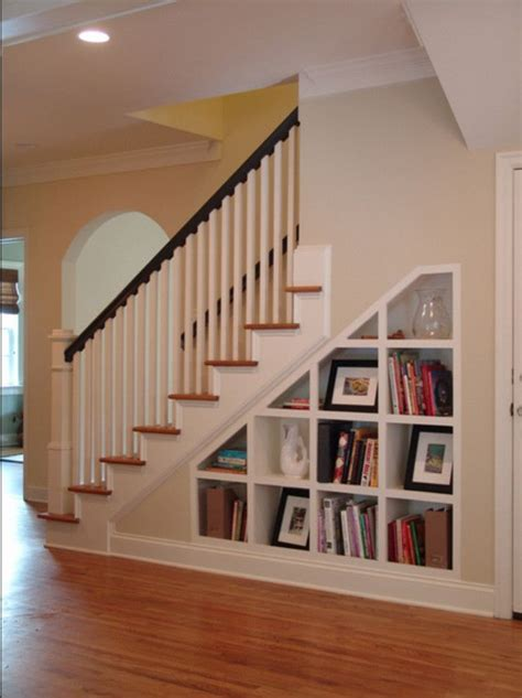 staircase shelf shelves under stairs cottage redo pinterest