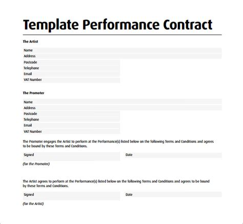 performance agreement template performance contract template 11 free