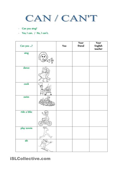 printable student activity sheets can cant esl worksheets of the day pinterest