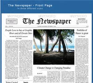 Front Page Templates by Doc 584430 Newspaper Front Page Template 12 Newspaper