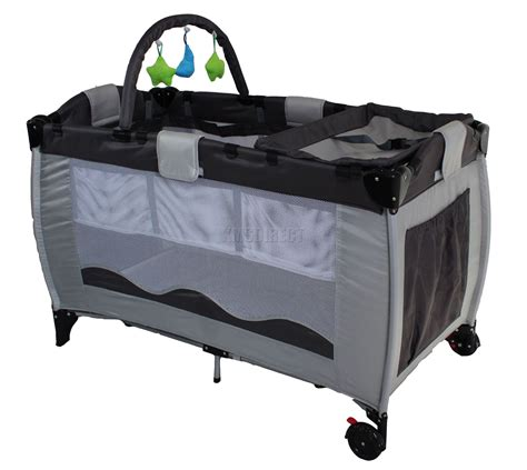 play pen portable child baby travel cot bed bassinet playpen play pen new grey with toys ebay