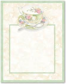 free tea party borders afternoon tea stationery