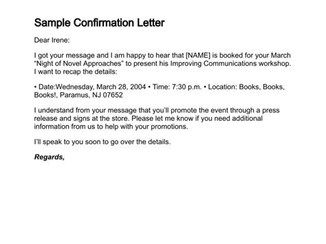 Confirmation Letter Participation Event how to write a confirmation letter