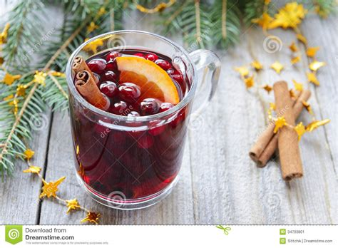 Drying Cranberries For Decoration by Mulled Wine With Cinnamon And Orange Cranberries Stock
