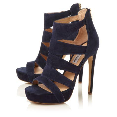 steve madden high heel sandals lyst steve madden spycee caged high heel sandals in blue