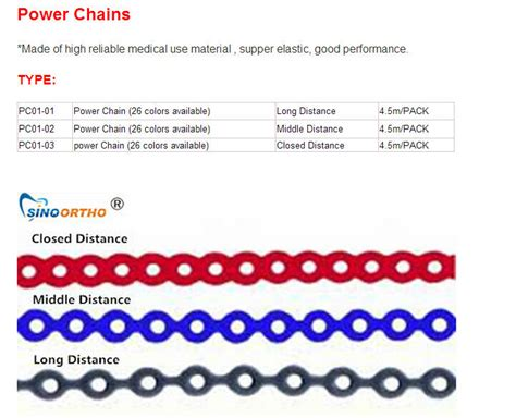 power chain colors orthodontic brackets dental equipment power chain colors