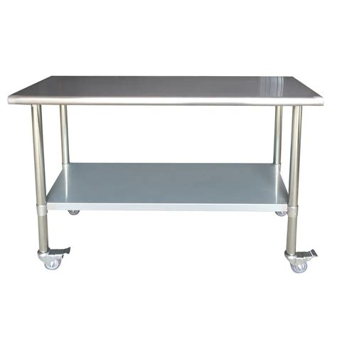 Steel Kitchen Tables Sportsman Stainless Steel Kitchen Utility Table With Locking Casters 802771 The Home Depot