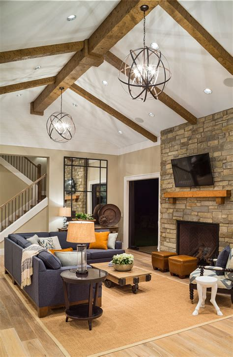 Vaulted Ceiling Lighting Fixtures Stylish Family Home With Transitional Interiors Home Bunch Interior Design Ideas