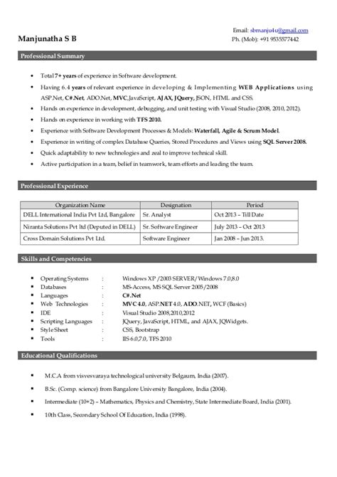 resume format for 4 years experience in net manjunatha resume 7 years experience
