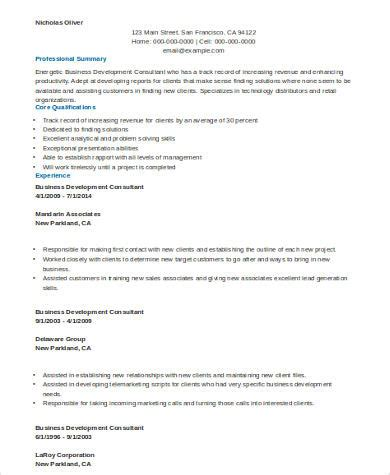 Business Consultant Resume Exle by Sle Consulting Resume 8 Exles In Word Pdf