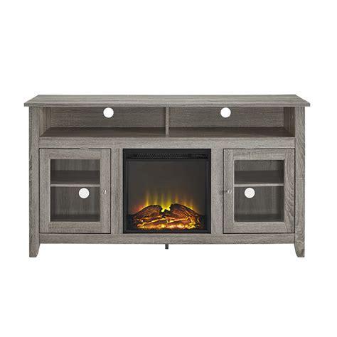 "58"" Wood Highboy Fireplace TV Stand   Driftwood"