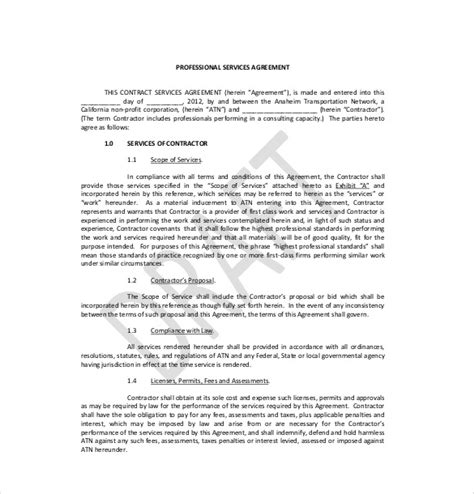 professional contract template 15 service agreement templates free sle exle
