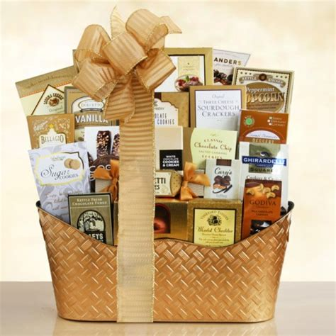 golden holiday gourmet christmas gift basket by gift