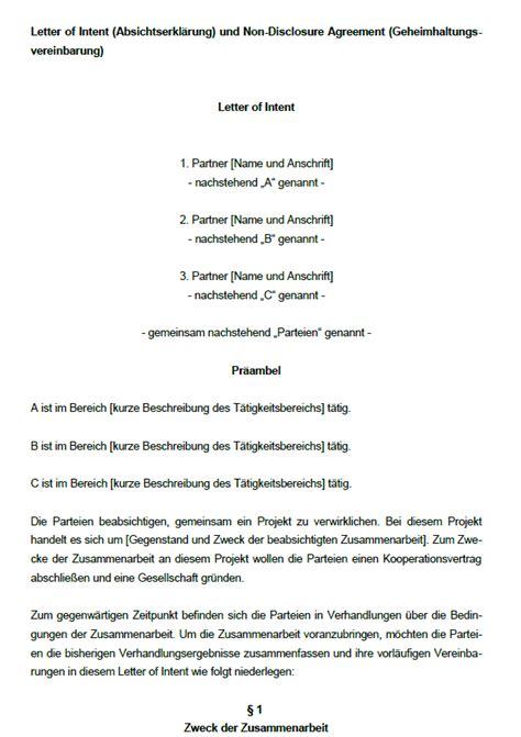 Letter Of Intent Zusammenarbeit Muster Vorteilspaket Unternehmenskooperation Sofort Zum