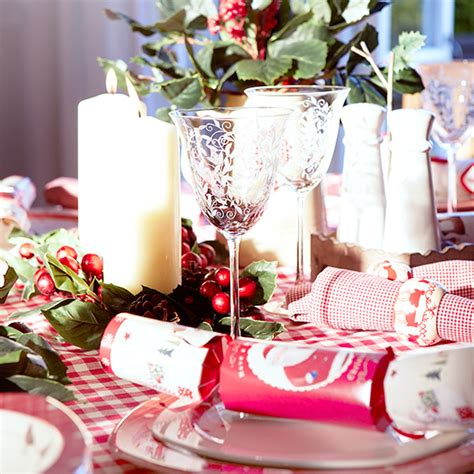 red and white christmas table country christmas table ideas ideal home