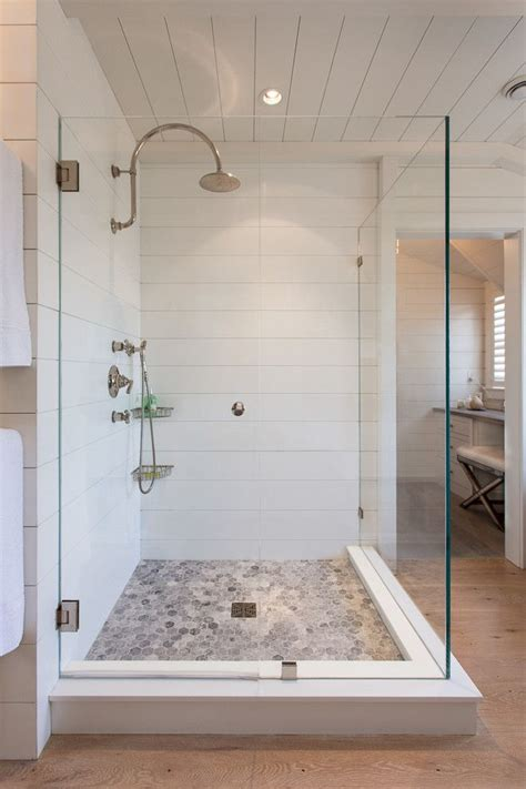 chic swanstone in bathroom beach style with shower stall