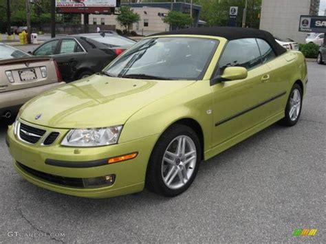 2007 lime yellow metallic saab 9 3 2 0t convertible