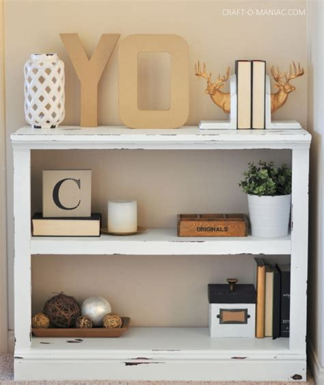 diy white chalk paint bookshelf craft o maniac