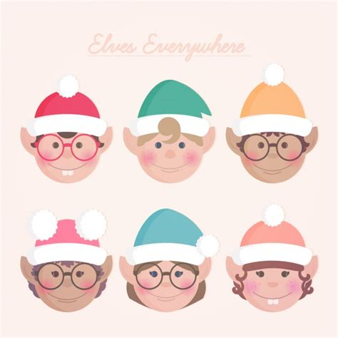 printable elf head elf heads collection vector free download