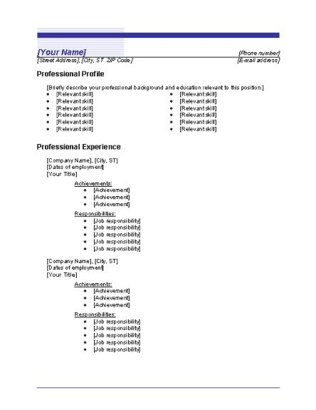 chronological order on resume