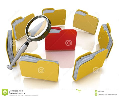 Free Search And Information Folder And File Search With Magnifying Glass Stock Illustration Image 36224288
