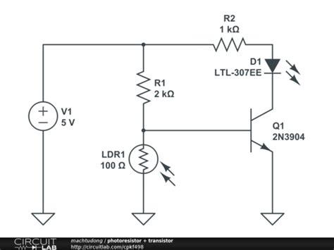 photoresistor light circuit photoresistor transistor circuitlab