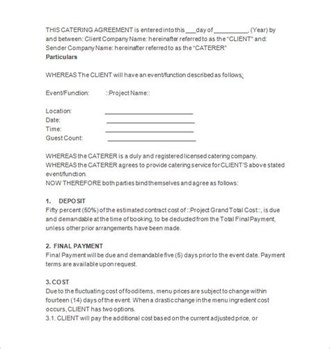 sle catering contract template 11 catering contract templates free word pdf