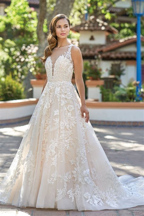 romantic embroidered lace ball gown wedding dress  illusion neckline
