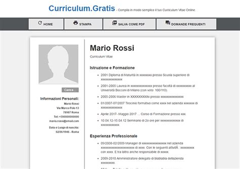Formato Europeo Curriculum Vitae Da Compilare On Line Curriculum Vitae Curriculum Vitae