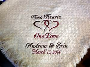 personalized wedding throw blanket two hearts one by ladylinenco