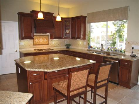 Granite With Cherry Cabinets In Kitchens Arthur S Kitchen New Kitchen Cherry Wood Cabinets And Granite Counter Yelp