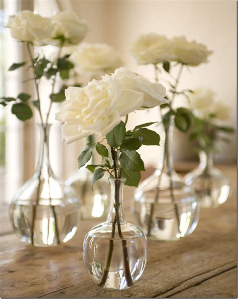 Real Simple Ideas For Simple Glass Vases By Simple White Roses In Glass Vases In Bloom Pinterest Glass And Flowers