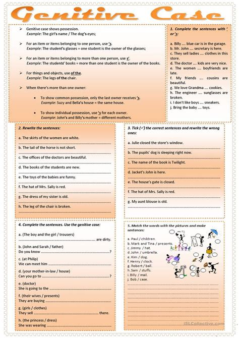 Genitive Case English Exercises | genitive case worksheet free esl printable worksheets
