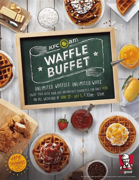 kfc buffet menu kfc a m waffle buffet unlimited breakfast waffles