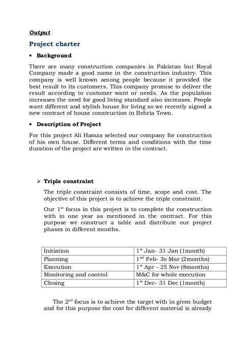 construction project brief template project on construction of house report