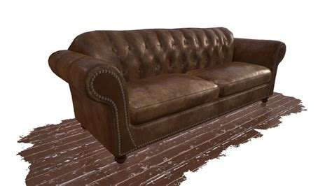 Obj Worn Leather Couch Worn Leather Sofa
