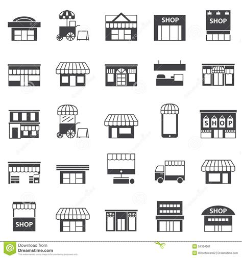 Set Black By Z Shop by Store And Building Icon Set Stock Vector Image 54334261