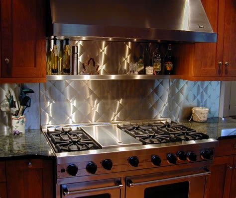 kitchen with stainless steel backsplash stainless steel backsplash custom traditional kitchen other metro by custom