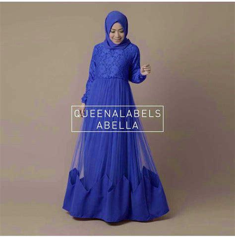 Baju Muslim Warna Biru model gamis terbaru setelan baju muslim wanita modern