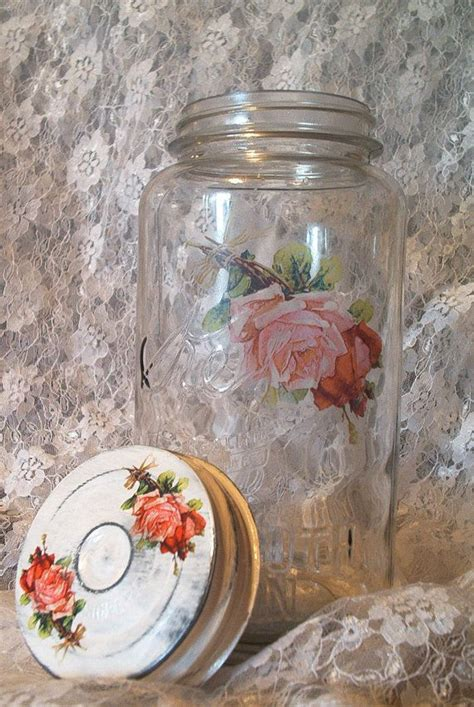 Decoupage On Glass Jars - 17 best images about botellas shabby chic on