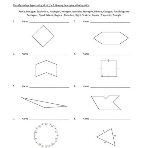Classifying Polygons Worksheet by Eighth Grade Classifying Polygons Worksheet 10 One Page