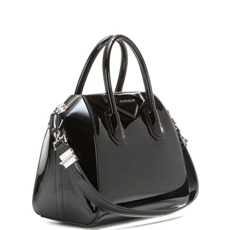 Patent Leather by Lyst Givenchy Antigona Small Patent Leather Tote In Black