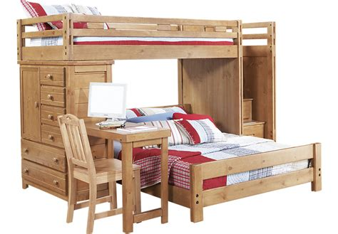 Bunk Beds With Two Desks Creekside Taffy Step Bunk Bed With Desk And Chest Beds Light Wood