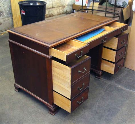 wooden desk with eight drawers olde things